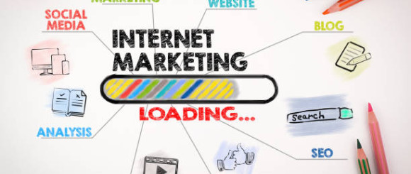 internet marketing, technology and advertising concept. Chart with keywords and icons on white background